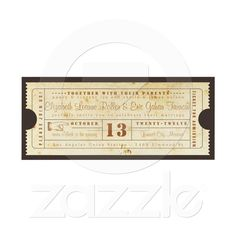 Vintage Ticket Invitation from Zazzle.com