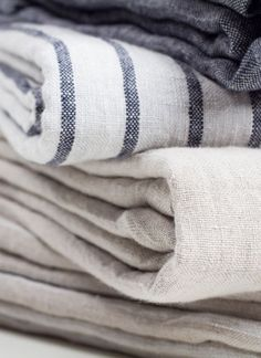 cloth linen fabrics neutrals stripes blue white beige navy grey neutral farmhouse country home Linen Fabric, Linen Bedding, Bedding Sets, Bed Linens, Textiles, White Beige, Blue And White, Navy Blue, Bed Linen Design