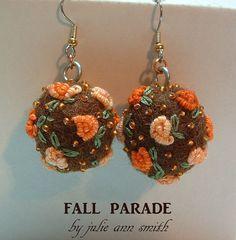 Julie Ann Smith Designs FALL PARADE Beaded Embroidered Felt Ball Wool Earrings