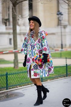printed coat with colorful bag