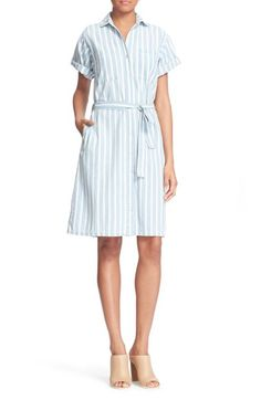 FRAME Stripe Chambray Wrap Tie Dress (Nordstrom Exclusive). #frame #cloth #