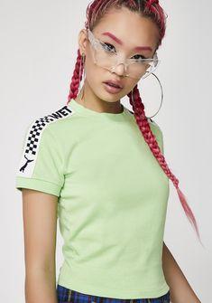 PUMA Gecko FENTY PUMA By Rihanna Short Sleeve Cropped Tee | Dolls Kill #dollskill #puma #pumasneakers #sneakers #puma #fentybypuma #rhiannafenty