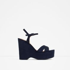 Navy Blue WEDGES WITH ANKLE STRAP from Zara