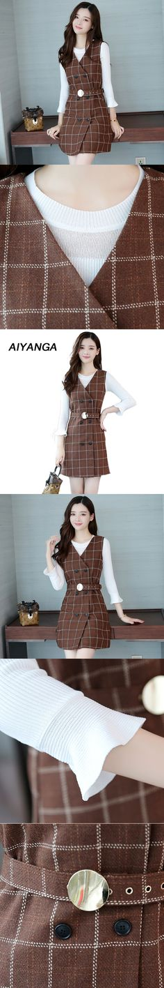 European Female Fashion Plaid Dress 2 Pieces Per Set Knitting White Tops V Neck Double breasted Vest Dress Check Women's Sets