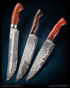 Liam Hoffman (@hoffmanblacksmithing) - 3 piece set of custom knives using wrought iron San Mai forged in house from quarry bolts from the 1800's