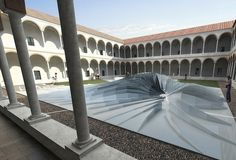 For Milan's Design Week (2011), celebrated Iraqi-British architect Zaha Hadid created a vortex-like three-dimensional structure in the 16th-century setting of Milan's State University, called Twirl.