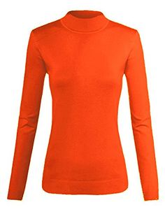 TOP LEGGING Women's Warm Comfy Long Sleeve Basic Stretch Mock Turtleneck Top Sweater