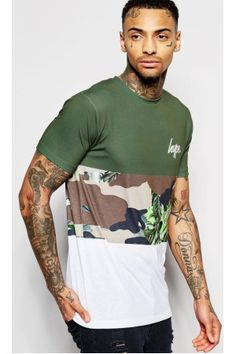 Shop Hype T-Shirt With Camo Panel at ASOS. Polo Tee Shirts, Boys T Shirts, Sport Street Style, Smart Casual Men, Custom Made T Shirts, Mens Tees, Shirt Style, Shirt Designs, Cool Outfits