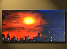 Office Art Paintings sunset City Scape view, Large Canvas painting 48x24, New York City, Urban Art abstract Acrylic purple. $299.00, via Etsy.