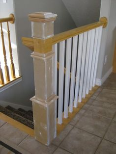 Remodelaholic | Stair Banister Renovation Using Existing Newel Post and Handrail