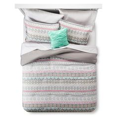 • Vibrant mix of geometric patterns<br>• Includes an entire bedding set<br>• Silky-soft polyester fabrics<br>• Polyester fill<br>• Machine washable<br>• Includes: comforter, pillow shams, decorative pillow, flat sheet, fitted sheet & pillowcases<br><br>Add an inviting pop of colorful depth and character to your bedroom's décor with an Xhilaration, Global Stripe Comforter Set. This ...