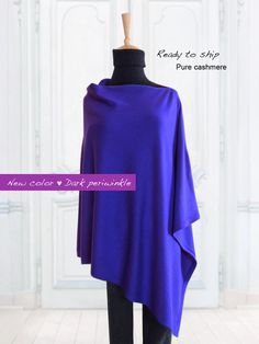 Pure cashmere poncho / Cashmere poncho / Women poncho / Poncho / Pure cashmere / Periwinkle / Ready to ship by SoftyWooly on Etsy Cashmere Poncho, Periwinkle, Custom Made, Ship, Pure Products, Trending Outfits, Sweatshirts, Sweaters, How To Wear