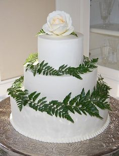 Simple buttercream wedding cake with ferns ~ The Crafty Cakery