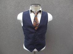 Your place to buy and sell all things handmade Mens Suit Vest, Mens Suits, Navy Vest, Wool Vest, 1970s, Navy Blue, Fitness, Jackets, Stuff To Buy