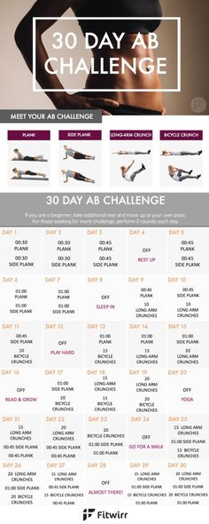 Banish your stomach fat with this 30 Day Ab Challenge. This 30 day ab workout challenge is designed to strengthen your core and tone your stomach. Give this ab challenge a try. by Lindy3