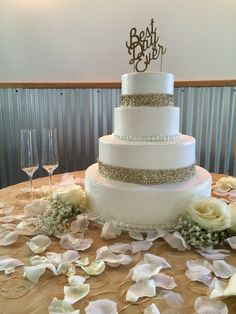 white and gold wedding cake OK40 Ranch October 2014  OK40Ranch.com