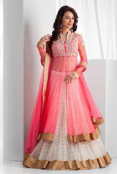 Net long jacket, ghagra and dupatta embellished with thread work