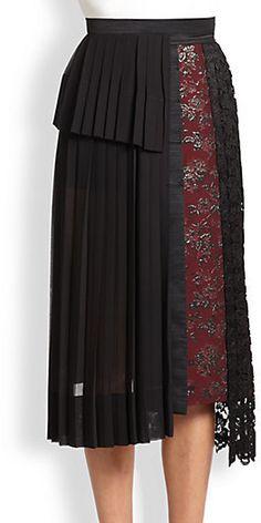 Antonio Marras Mixed-Media Pleated Skirt