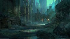 Ruins by MathiasZamecki on DeviantArt Fantasy City, Fantasy Places, Fantasy Map, High Fantasy, Fantasy World, Rpg Map, Medieval, Fantasy Concept Art, Fantasy Artwork