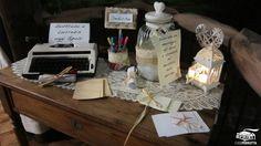 Tavolo delle dediche per gli sposi per nozze in stile shabby chic