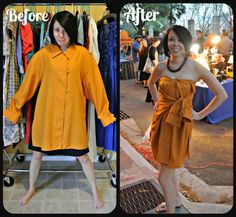 A No-Sew Shirt to Dress refashion!