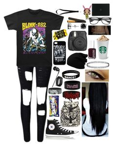 """""""Untitled #1429"""" by xxghostlygracexx ❤ liked on Polyvore featuring Converse, Aime, Loungefly, River Island, The Sharper Image, Peace Love World, Essie, Fujifilm, Fitbit and CZ by Kenneth Jay Lane"""