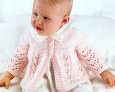 Baby 4ply Qk Dk Matinee Jacket & bootees by avintagescot
