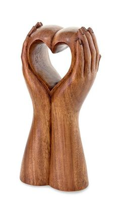 Wood sculpture, 'Faithful Heart' by NOVICA