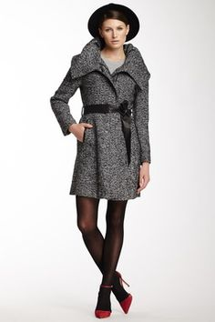 Wool Blend Leather Trimmed Twill Coat