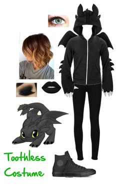 """Toothless Costume"" by nerdgal13 ❤ liked on Polyvore featuring Frame Denim, Converse and Lime Crime"