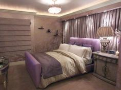 teen room, Bedroom Design For Women With Purple Bed And Pillow With Table Lamp And Pendant Lamp For Bedroom Lighting Design Ideas With Bedroom Furniture Ideas For Interior Bedroom Decoration: Bedroom Ideas for Women Purple Bedroom Design, Purple Bedrooms, Bedroom Colors, Bedroom Decor, Cozy Bedroom, Bedroom Small, Bedroom Furniture, Dream Bedroom, Bedroom Interiors