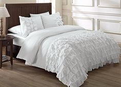 Chezmoi Collection Ella Ruffle Duvet Cover Set (Full, White): Button closure, Corner ties (Interior corner ties to keep the duvet in place) 1 Duvet Cover (fit most Queen insert), 2 Shams Peachskin Microfiber. Ruffle Comforter, Comforter Cover, Queen Comforter Sets, Duvet Bedding, Bed Duvet Covers, Duvet Cover Sets, Chic Bedding, King Comforter, Pillow Shams