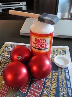 Personalizing Christmas bulbs.