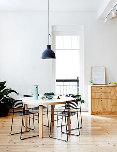 DINING ROOM   Yellow Wood   Black Rope Chairs   Black Pendant Lamp