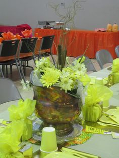 yellow table - centerpiece