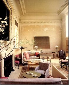 Features Saladino's Shelter Sofas, facing each other . Possibly the most beautiful living room ever ~ Living Room Sofa, Living Room Decor, Living Spaces, Living Rooms, New York Apartments, Interior Decorating, Interior Design, Decorating Ideas, Decor Ideas