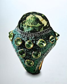 Sevan Biçakçi-Reverse engraved intaglios have become his signature and above, in his Konya ring, an Ottoman mosque is carved into a citrine, surrounded by a micro mosaic with tesserae of crushed turquoise and inverted peridots, also a signature element.
