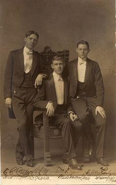 Three young men, New Haven CT, circa 1910