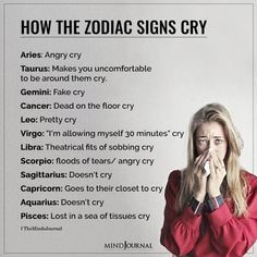 """How The Zodiac Signs Cry: Aries: Angry cry; Taurus: Makes you uncomfortable to be around them cry; Gemini: Fake cry; Cancer: Dead on the floor cryLeo: Pretty cry; Virgo: """"I'm allowing myself 30 minutes"""" cry; Libra: Theatrical fits of sobbing cry; Scorpio: floods of tears/ angry cry; Sagittarius: Doesn't cry; Capricorn: Goes to their closet to cry; Aquarius: Doesn't cry; Pisces: Lost in a sea of tissues cry"""