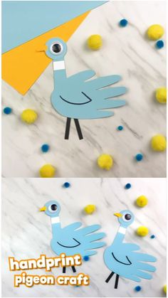 Learn how to make this easy handprint pigeon craft inspired by children's book author Mo Willems. Simple enough for kids of all ages!