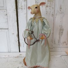 Porcelain deer statue story book style whimsical silk/ satin clothing shabby chic inspired bunny figure home decor anita spero