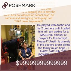 **PRAYER WARRIORS NEEDED** My Neighbor.. Please pray for Austin! They are going to try a surgery but the doctors don't think he will live.. I know this sweet boy and my heart is breaking.. Please share/tag your prayer Sisters! Thank you! Austin Bags