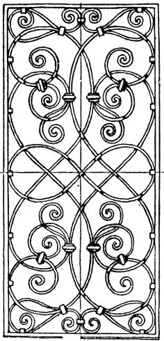 Wrought-Iron Grill Oblong Panel