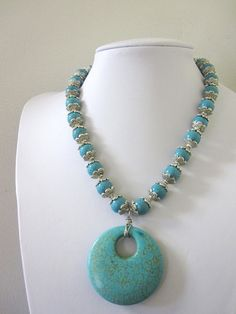 Western Necklace Cowgirl Jewelry Turquoise Blue by sweetie2sweetie, $34.99