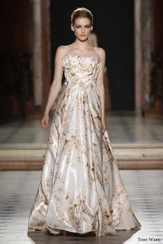 tony ward couture fall winter 2015 2016 look 16 strapless ball gown print origami crystal applique