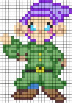Disney Snow White Dopey perler bead (or crosstitch) pattern
