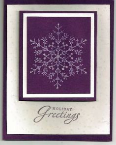 This is another card done with The Snowflake Spot. Just stamp in white craft ink and then add glitter. Merry Christmas Card, Christmas Scrapbook, Christmas Snowflakes, Holiday Cards, Christmas Cards, Christmas Ideas, Stamping Up Cards, Rubber Stamping, Purple Cards