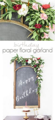 Birthday Paper Floral Garland, Feminine Brithday Party Ideas, Adult Birthday Party  - Pocketful of Posies
