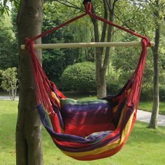 Bohemian Boho Striped Hammock Hanging Chair from Go Get Glam. Saved to Bohemian Home Decor. Hanging Hammock Chair, Hammock Swing, Swinging Chair, Hammocks, Hammock Ideas, Outdoor Hammock Chair, Garden Hammock, Double Hammock, Boho