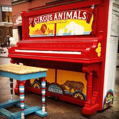 A Circus Animals piano on the streets of New York City.